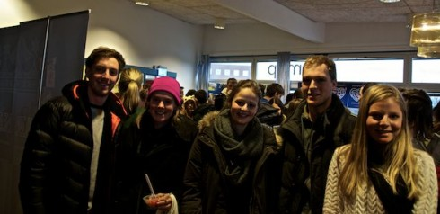 """(L to R) James Webb, AUS. Rebecca Fitzgerald, AUS, Anna Ott, Switzerland, Alex, Austria & Ally Bereich, AUS, """" We've just had our first Swedish class, this'll take some getting used to"""" remarked James."""