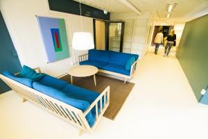 En av sittgrupperna på Lunds nations nya bostadshus Arkivet. Foto: Jens Hunt