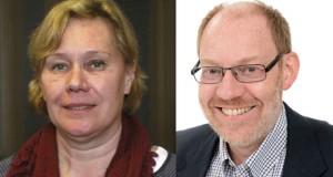 Prorektor Eva Wiberg och professor Bo-Anders Jönsson från Naturvetenskapliga fakulteten. Bilden är ett montage. Foto: Arkiv/Lukas Norrsell och Lunds universitet