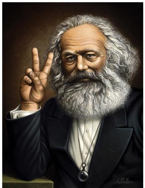 """En bild på Karl Marx som gör ett """"v""""-tecken med fingrarna."""