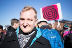 Teknologen Niklas Heikklä deltog i demonstrationerna och var nöjd med utfallet.