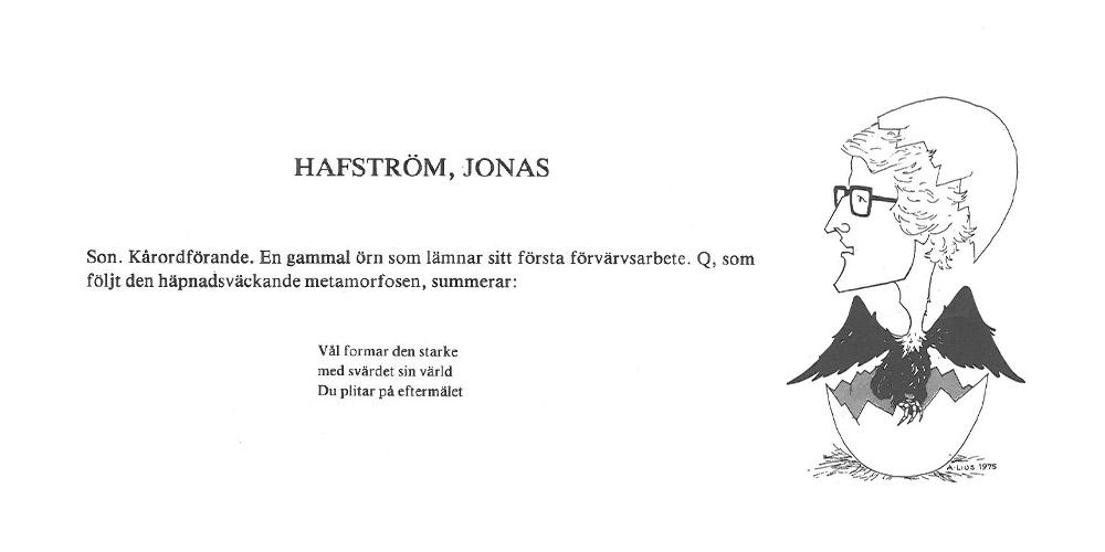 Jonas Hafström Q:as vid sin avgång som Lus styrelseordförande 1978.