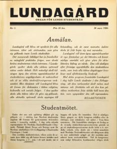 Första sidan på första numret i mars 1920.