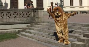 Lejonet Lunde vinkar inte längre från Universitetshusets trappa. Foto: Lunds universitet