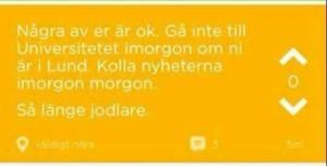 En printscreen på inlägget på Jodel.
