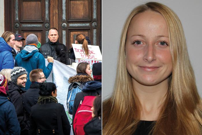 Bild från demonstrationen och på Lise Johansson, en av textförfattarna. Foto: Christina Zhou/Privat