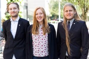 F.v: Viktor Andersson, Vice kårordförande för Humanistiska och teologiska studentkåren, Ronja Lundgren, Kårordförande och Oskar Johansson, Vice kårordförande.