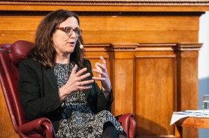 EU-kommissionären Cecilia Malmström under torsdagens Studentafton i Universitetsaulan. Foto: Lukas J. Herbers