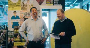 Johan Wester och Anders Jansson, radarparet från humorserien HippHipp!, är de två initiativtagarna till humorfestivalen Lund Comedy Festival som hålls i höst. Foto: Claudio Gandra