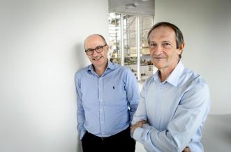 Jiri Lukas (till vänster) och Jiri Bartek (till höger), 2016 års mottagare av Eric K. Fernströms Nordiska pris. Foto: Kennet Ruona
