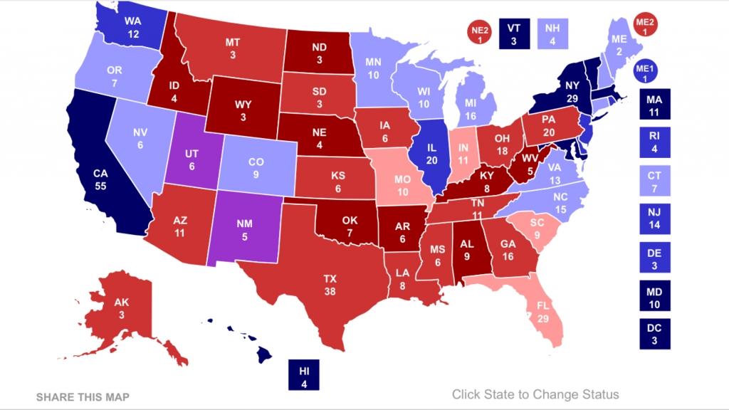 Karta där ingen når 270 elektorer. Källa: RCP