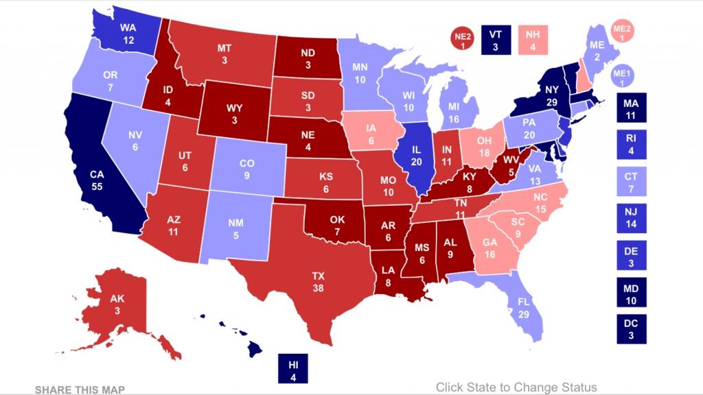 Elektorskarta med 303 Clinton, 235 Trump. Källa: RCP