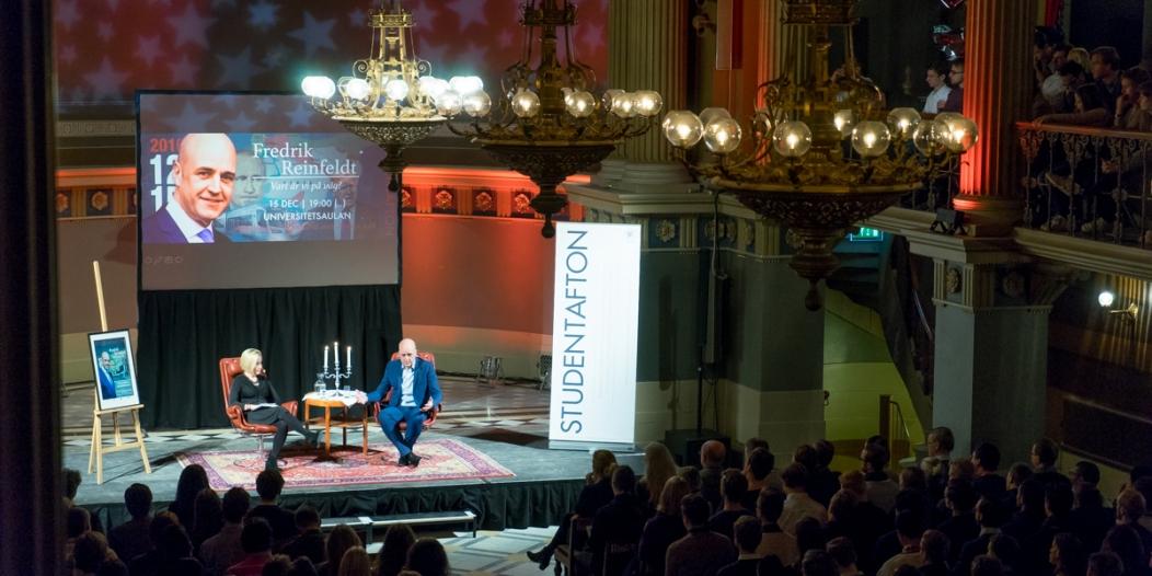 Fredrik Reinfeldt på Studentafton. Foto: Jonas Jacobson.