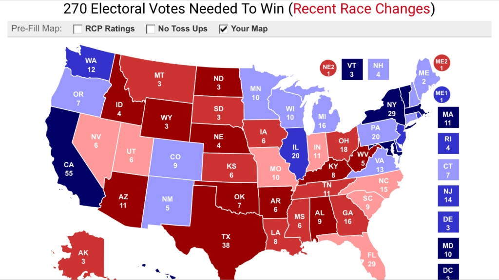 Karta med 272 elektorer för Clinton, 266 för Trump. Källa: RCP