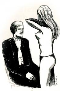 """Illustration från Lundagård nr 9-10 1998, till artikeln """"Medicinarstudenter hyrde in strippa"""" om Hincus Medicus. Illustration: Arkiv/Mira Nameth"""